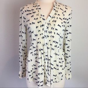 Maeve (Anthropology) off white top w/ horses Sz. 6